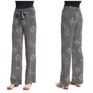 JOIE Nurrin Batik Paisley Black White Silk Pants